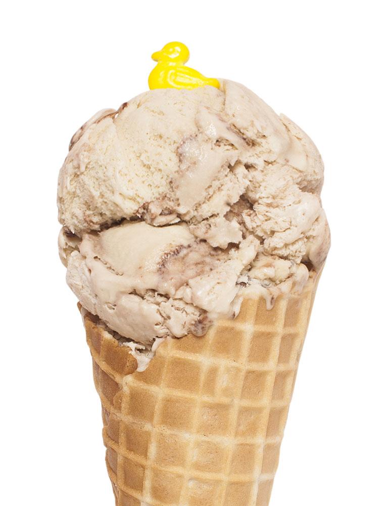 Ice cream cone with Algonquin Canoe flavour ice cream