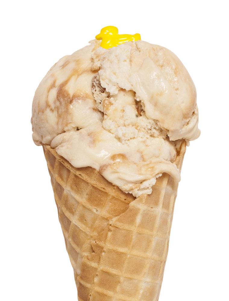 Ice cream cone with Salty Caramel flavour ice cream